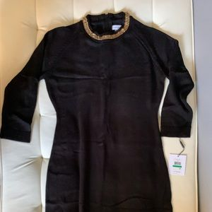CkK black sweater dress with gold chain large
